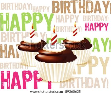 Birthday cupcake Greeting card - stock vector
