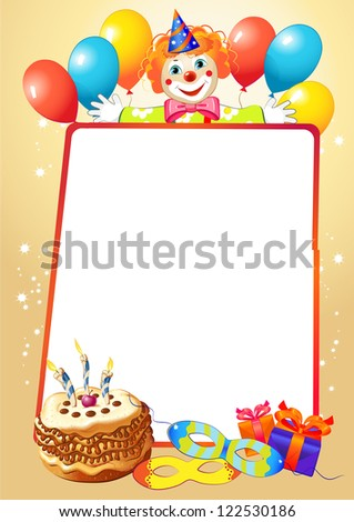 birthday decorative border with balloons and clown - stock vector
