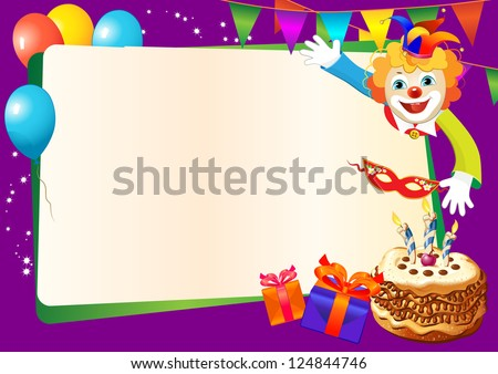 birthday decorative border with cake, candles, balloons and clown - stock vector