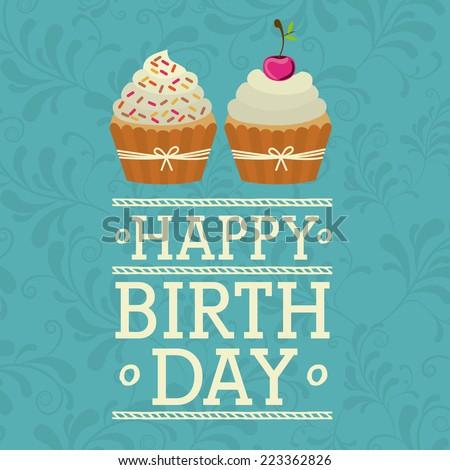 Birthday design over blue background, vector illustration  - stock vector