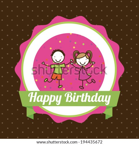 Birthday design over brown background, vector illustration