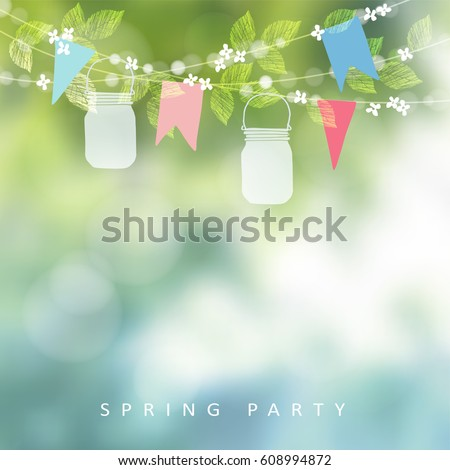 Birthday Garden Party Festa Junina Greeting Stock Vector 608994872