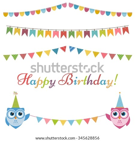 Birthday garlands, flags and two owls - stock vector