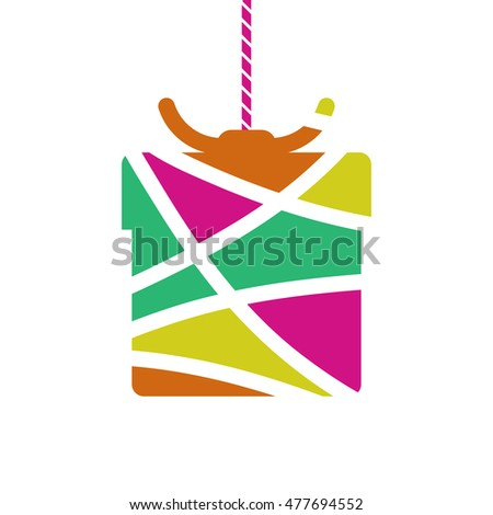 birthday gift box symbol, vector illustration
