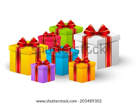 Birthday gift boxes for Your design - stock vector