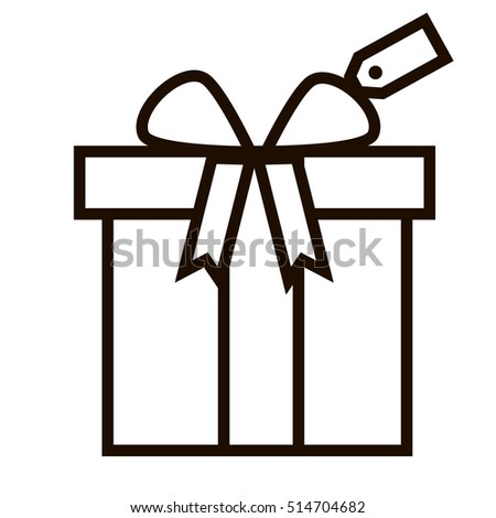 Birthday gift christmas gift box ribbon stock vector 514704682 birthday gift christmas gift box with ribbon bow line art icon for apps and websites negle Image collections