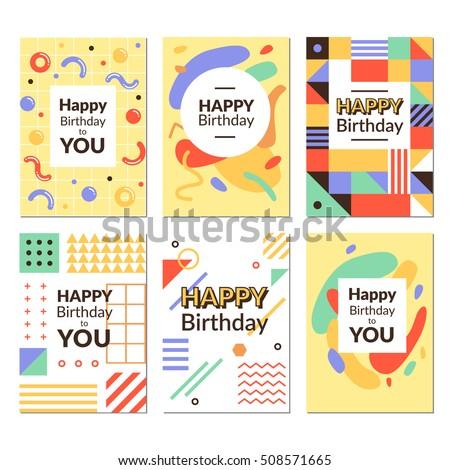 birthday greeting card templates vector illustrations stock vector