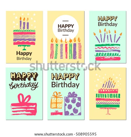 Birthday greeting card templates vector illustrations stock vector birthday greeting card templates vector illustrations for website banners greeting cards invitations bookmarktalkfo Choice Image