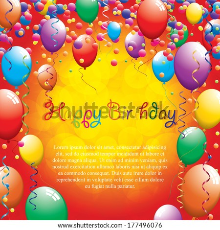 Birthday greeting card.Vector - stock vector
