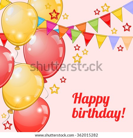 Birthday greeting card with colorful balloons and buntings over pink - stock vector