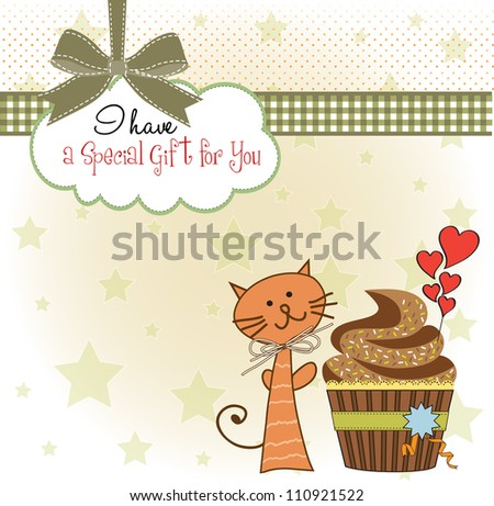 birthday greeting card with cupcake and cat - stock vector
