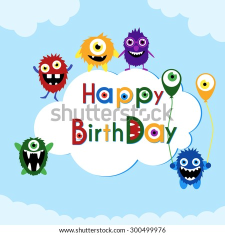 Birthday greeting card with cute monsters on a cloud. Vector illustration eps 8. - stock vector