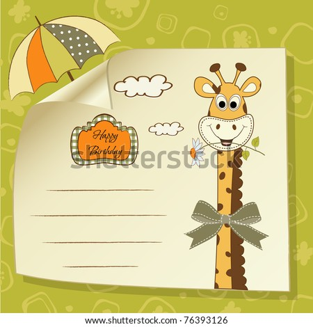 birthday greeting card with giraffe - stock vector