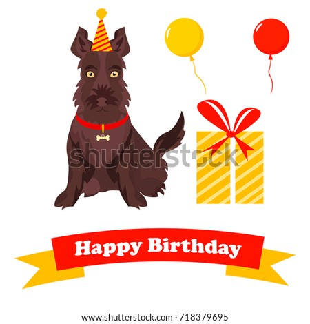 Birthday greeting card holiday scotch terrier stock vector 718379695 birthday greeting card with holiday scotch terrier and ribbon with text m4hsunfo