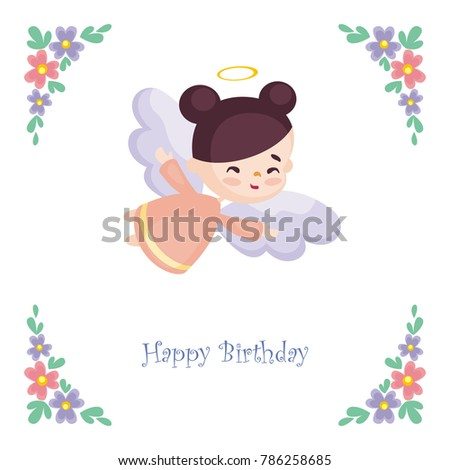 Birthday greeting card image pretty little stock vector royalty birthday greeting card with the image of a pretty little angel vector illustration on a m4hsunfo