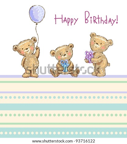 Birthday greetings from cute bears, vector illustration - stock vector