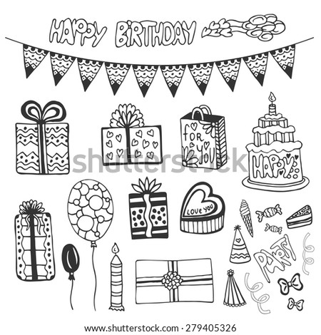 Birthday hand drawn elements. Doodle set with birthday cakes,  gift boxes, balloons and other party elements. - stock vector