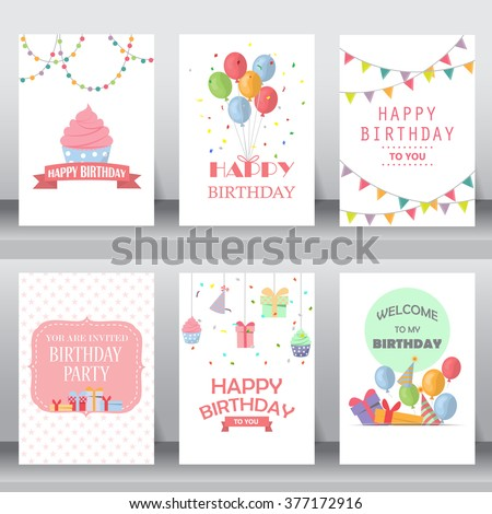 birthday, holiday, christmas greeting and invitation card.  there are teddy bear, gift boxes, confetti, cup cake. layout template in A4 size. vector illustration - stock vector