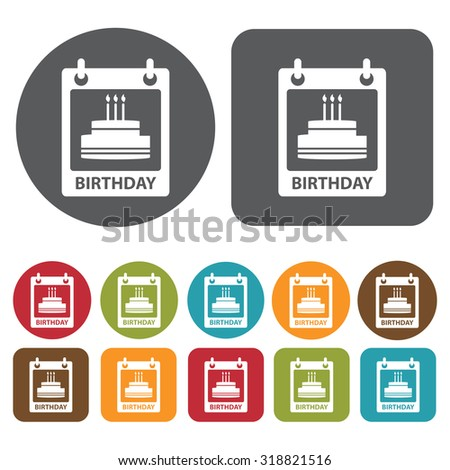 birthday icon set. Vector Illustration eps10. 