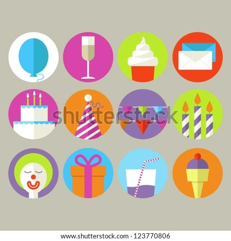 Birthday Icons - stock vector