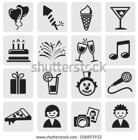 Birthday icons set - stock vector