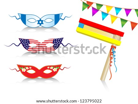 birthday international decorative elements with flags and masks - stock vector