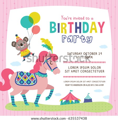 Birthday Invitation Card Cute Little Koala Stock Vector HD Royalty