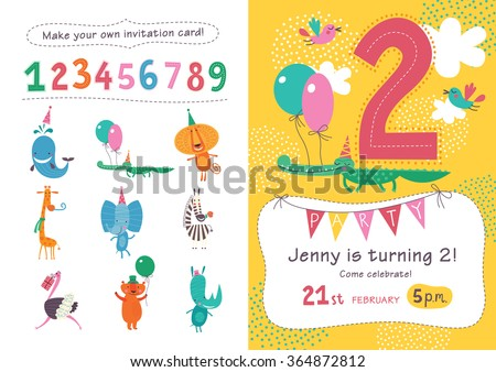 Birthday invitation. Collection of cute animals and numbers in childish style for designing own posters and invitation cards.Vector isolated illustration. - stock vector