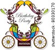birthday or wedding invitation design with fairytale carriage - stock photo