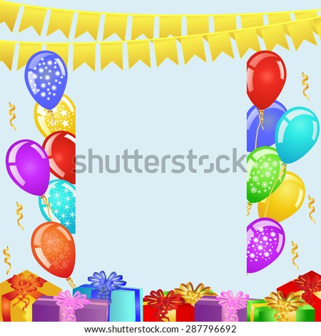 Birthday party background with bunting flags, balloons and gift boxes. EPS10 vector illustration - stock vector