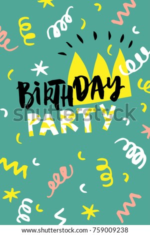 Birthday Party Card Design Poster Card Stock Vector HD Royalty Free