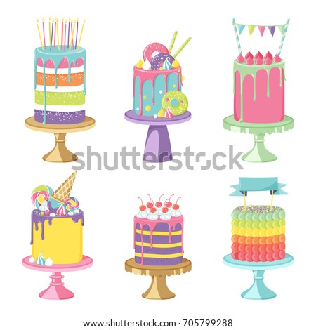 Birthday Party Celebration Cakes Vector Illustration Stock Photo