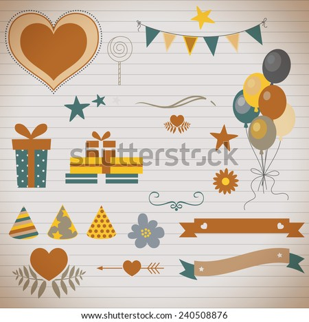 birthday party decorations - stock vector