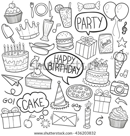 Birthday Party Doodle Icons Hand Made - stock vector