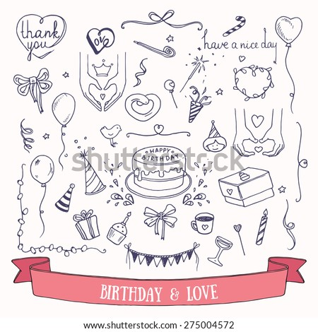 Birthday party doodles and love signs. Collection of hand drawn vector birthday and wedding festive attributes. - stock vector
