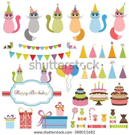 Birthday party elements and cats - stock vector
