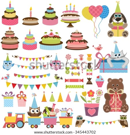 Birthday party elements set with cake, sweets and toys - stock vector