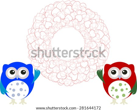 birthday party elements with cute owls and love hearts vector - stock vector