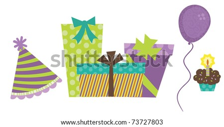 Birthday party graphics - stock vector