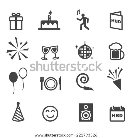 birthday party icons, mono vector symbols - stock vector