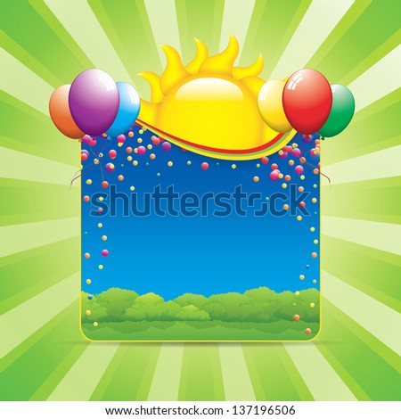 Birthday party in nature vector illustration