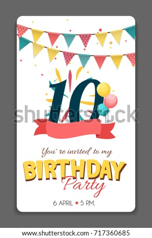 Birthday Party Invitation Card Template Vector Illustration EPS10  Birthday Party Card Template