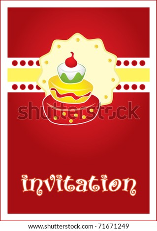Birthday party invitation card with cake