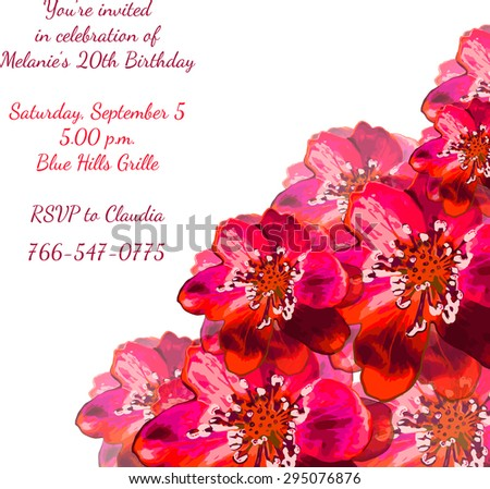 Birthday party invitation card with floral elements. Vector illustration.