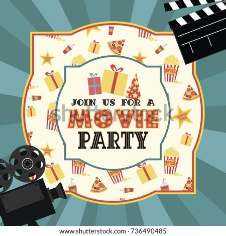 Birthday party invitation movie party hollywood stock vector hd birthday party invitation for movie party hollywood party cinema poster vector illustration stopboris Gallery