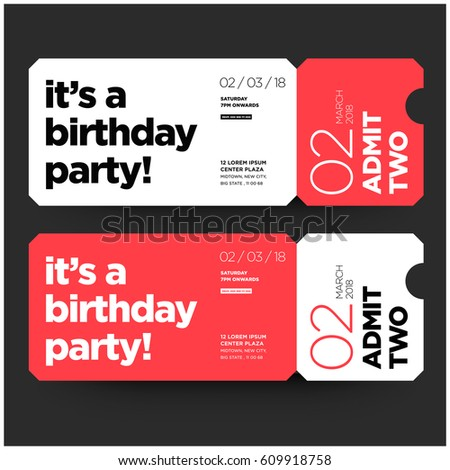 Birthday party invitation flat ticket style stock vector 609918758 birthday party invitation in flat ticket style design with venue date and time details stopboris Choice Image
