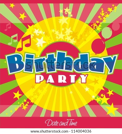 Birthday party invitation template - stock vector