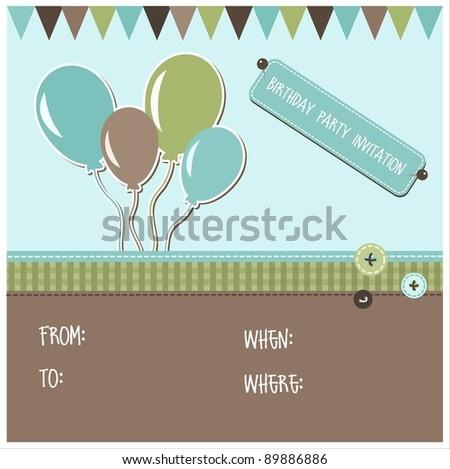 Birthday party invitation, vector - stock vector