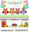 Birthday party owls set - stock vector