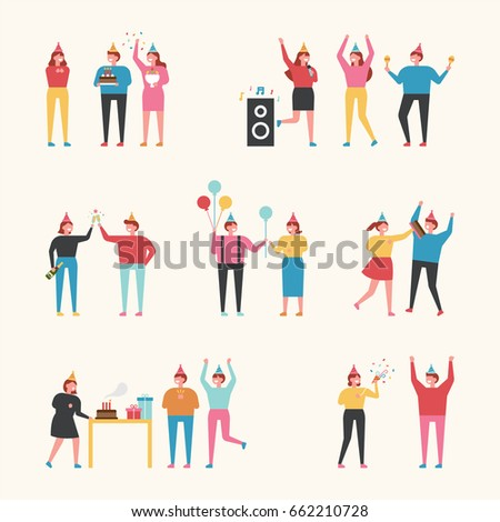 Birthday Party People Vector Illustration Flat Stock Vector 2018